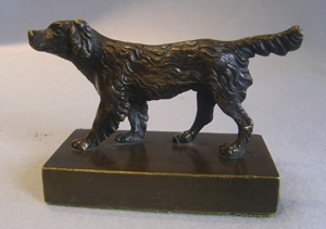 Antique English Regency patinated bronze of a Spaniel.