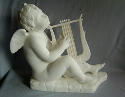 antique Italian marble of Cupid playing a lyre after Canova