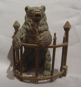 Antique Russian bear inkwell.