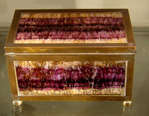 Blue John casket, magnificent colour,  English.