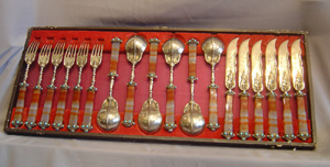 Russian antique silver gilt , jewelled and agate handled tableware.