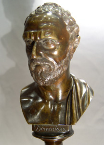Grand Tour antique bronze bust of Demostene on marble base.