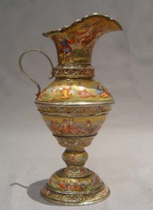 Viennese antique enamel and silver gilt ewer.