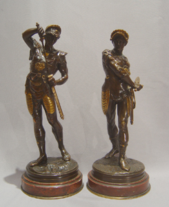 Pair French bronze gladiators on marble bases by Lalouette.