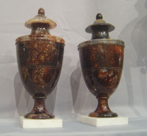 Antique English pair of blue john fleurospar urns.