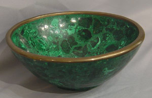 Russian antique malachite bowl.