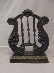 Antique English Regency large lyre shaped letter stand.