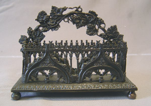Antique English gothic revival letter stand.