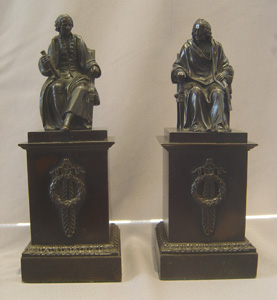 Antique French patinated bronzes of philosophers