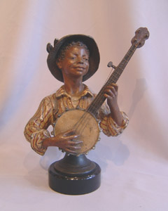 Austrian cold painted bronze banjo player.