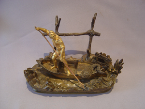 Inkstand of Neopolitan fisherman in ormolu and patinated bronze