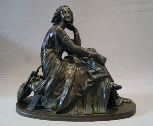 Grand Tour bronze of classical muse sitting in a chair with turtle backed lyre.