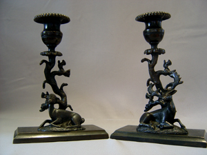 English Regency candlesticks of Deer with squirrels in tree.