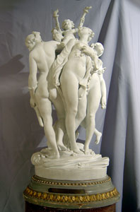 Antique Sevres porcelain signed and dated monumental bisque piece of three nymphs holding a cupid.