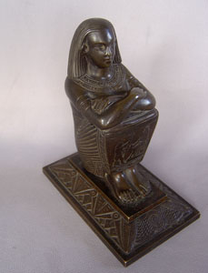 Antique Grand Tour Egyptian revival bronze inkwell.