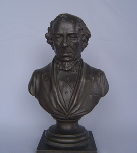 Antique English bronze bust of Benjamin Disraeli.