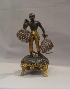 Blackamoor or au negre bronze antique servant summoning bell.