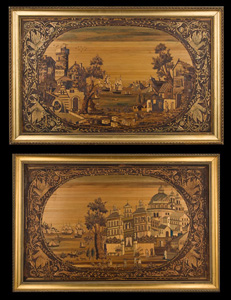Antique Pair of Straw work pictures.