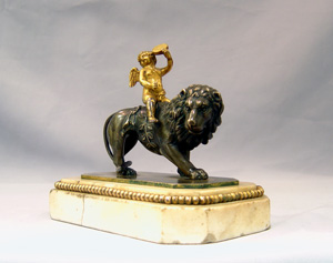 Antique Thomas Weeks Tichbourne Str. Paperweight of Cupid and Lion.