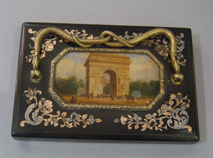 Gold mounted Grand Tour palais royal paperweight with reverse painting.
