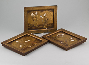 Antique  Japanese ivory and lacquer plaques.