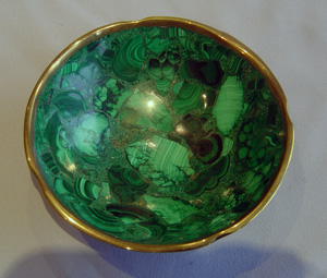 Antique Russian malachite bowl.
