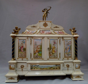 Antique Austro-Hungarian ivory, silver gilt and enamel table cabinet.