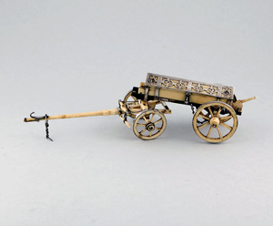 Antique French silver and ivory gun carriage and limber