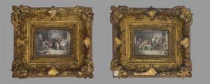 A pair of antique Victorian miniature paintings on ivory.
