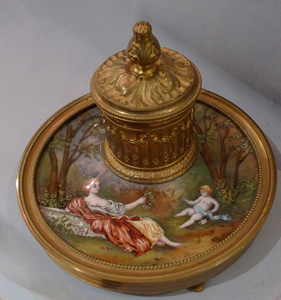 Antique French hand painted Limoges enamel and gilt metal inkwell.