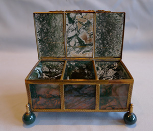 Antique Austro-Hungarian ormolu and moss agate casket.