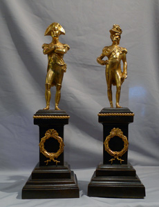 Napoleon and Duke of Wellington, a pair of antique ormolu statuettes.