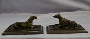 Antique English Regency pair of bronze dogs, a pointer and a greyhound.