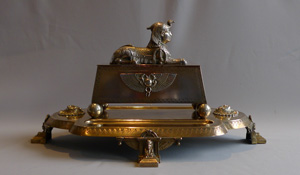 Antique Egyptian Revival ink stand, English in silvered and gilt bronze.