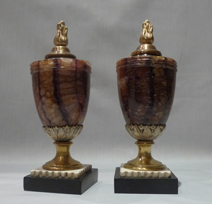 Blue John urns, ormolu mounted, antique 18th century.