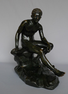 Antique Grand Tour bronze of seated winged Mercury signed Fonderie Sommer Napoli.