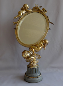Antique French Napoleon III ormolu and silvered bronze mirror with cupids signed and dated 1870