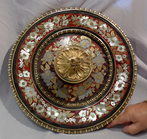 Antique boulle centrepiece with ormolu, pewter and mother-of-pearl decoration on red tortoiseshell.