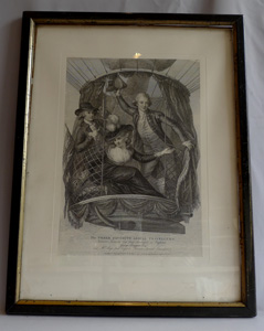 Antique print of hot air balloonists by Wyatt dated 1785 in frame.