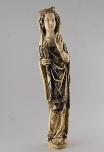 Antique polychrome ivory carving of the Madonna.