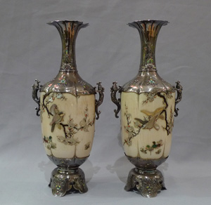Japanese shibayama vases, a pair in ivory, silver, mother of pearl and semi precious stones.