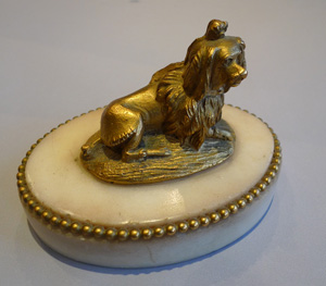 Louis XVIth antique French ormolu king Charles spaniel on oval carrera marble base.