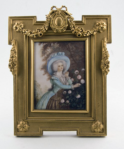 Miniature watercolour on ivory in fine ormolu frame signed and dated.