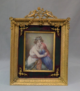 Antique watercolour on ivory in gilt bronze frame and signed.
