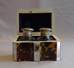 Tortoiseshell and ivory ink box with original inkpots