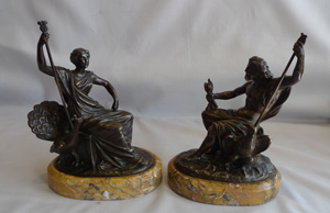 Antique Grand Tour pair of bronzes on Sienna marble bases of Juno and Jupiter.