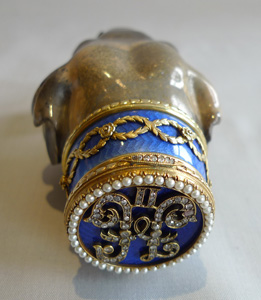 Marble, silver gilt, guilloche enamel and pearl elephant head signed faberge, probaly 30's