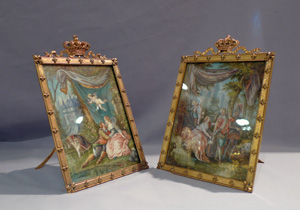 Watercolour on ivory, pair in gilded and crowned frames.