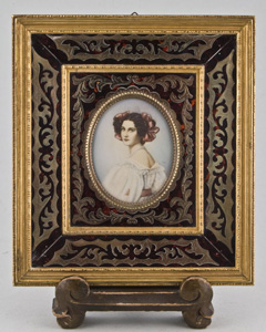 Watercolour portrait miniature on Ivory in boulle frame.