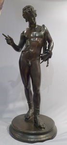Antique Grand Tour large bronze of Narcissus in patinated bronze signed F. Barbedienne.